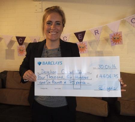 Zoe with cheque Dereham Cancer Care