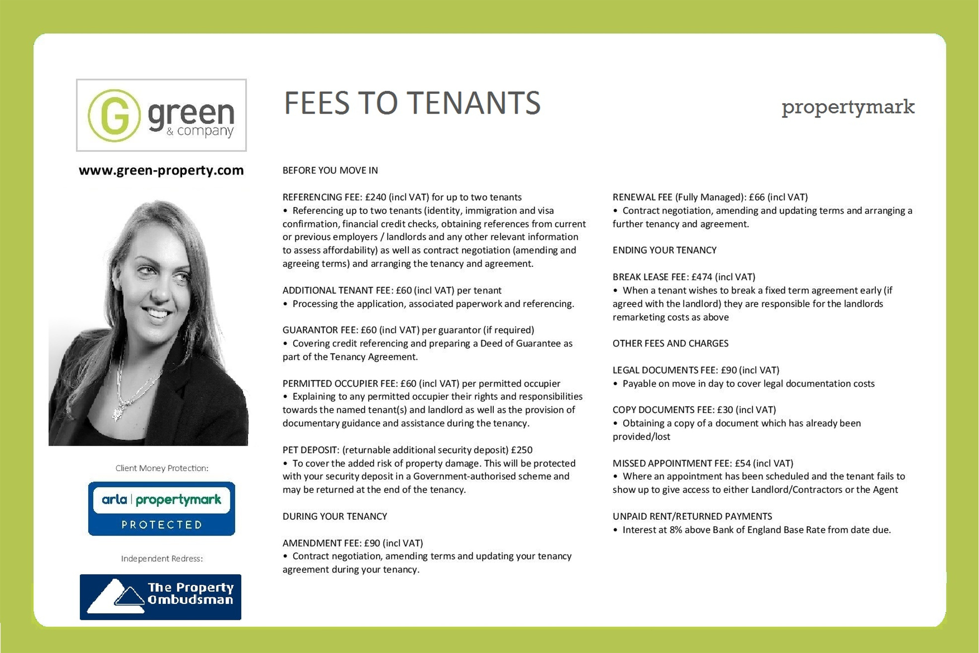 lettings fees