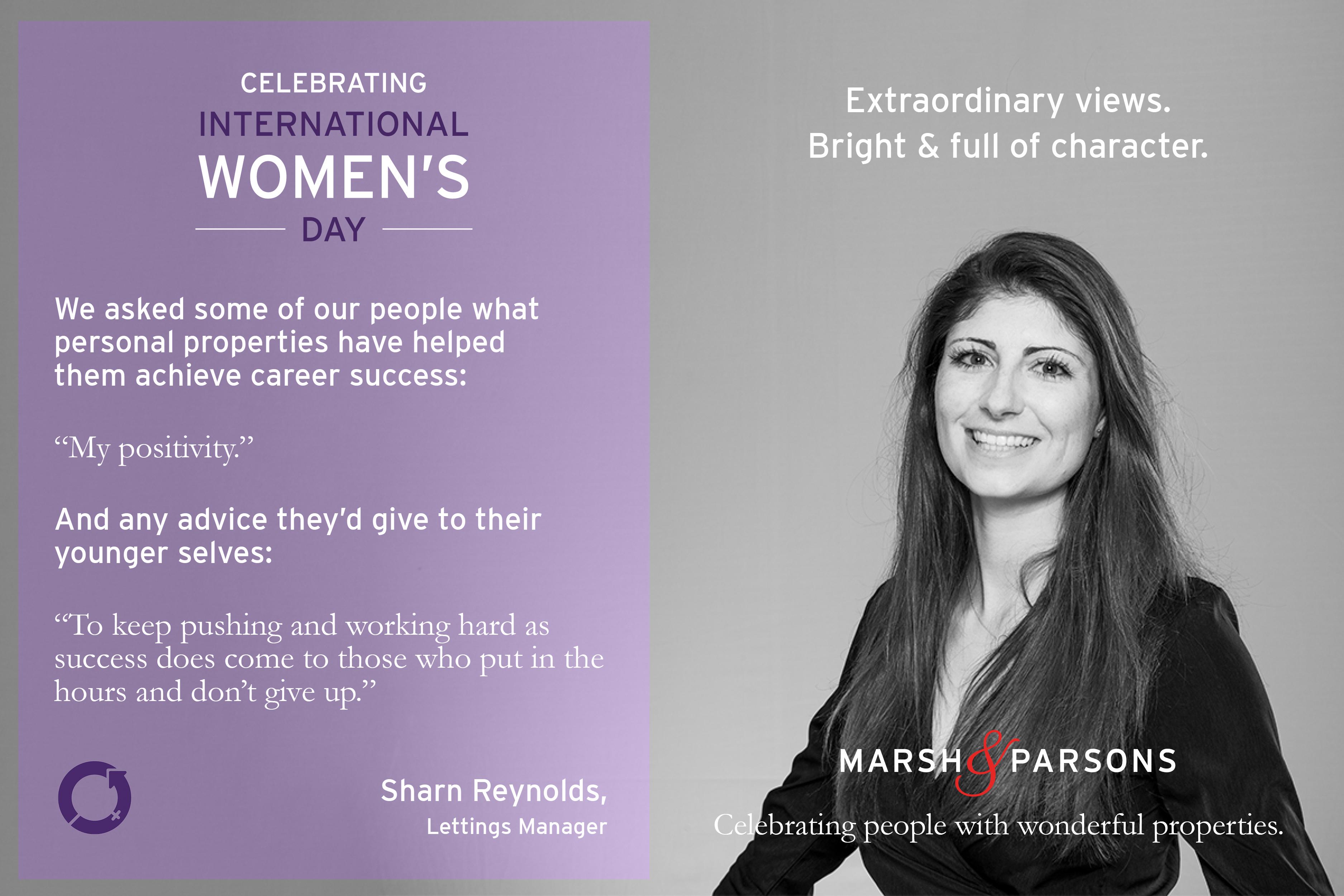Sharn Renoylds, International Women's Day