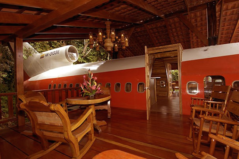 The inside of this aeroplane which is one of the weirdest homes in the world