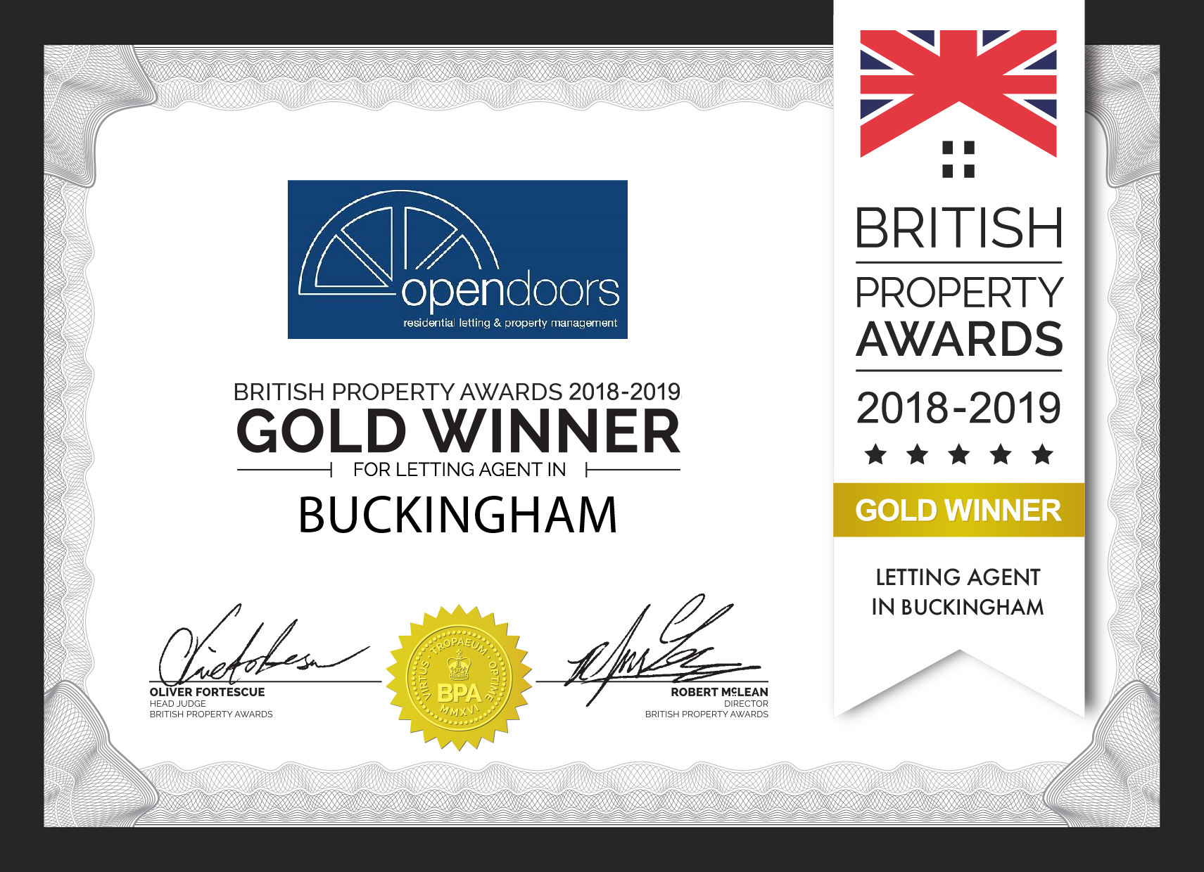 Open Doors British Property Awards 2018-19 Gold Award Winner