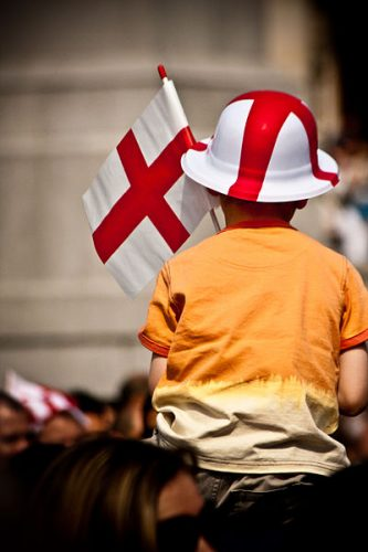 Child wearing Saint George's Cross hat